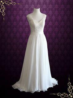 Beach Vintage Style Lace Chiffon Wedding Dress with Illusion Lace Back | Brianna