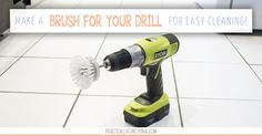Learn how to make a scrub brush for your drill to make cleaning easier! So easy to make with a soap dispensing brush replacement, a bolt, washer, and nut!