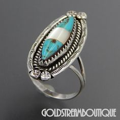 Native American Navajo Sterling Silver Turquoise & Mother Of Pearl Ethnic Marquise Ring - Size 5.25