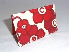 Red Mod Flowers Business Card Holder or Credit Card by ShastaBlue, $8.00