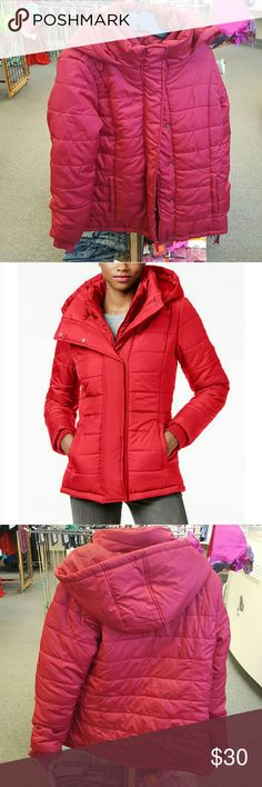 """Women's Red Hooded Quilted Puffer Coat The sleek, solid design of Rampage's quilted puffer coat makes it a key piece for casual cold-weather style. Stand collar; attached hood. Zipper closure with snap overlay at front. Long sleeves with interior knit storm cuffs. Allover quilting. Slit pockets at hips. Polyester fill. Lined. Mid-weight. Hits at hip; approx. 28"""" long. Fabric Content: Shell, lining & fill: polyester. Country Of Origin: Imported. Product Care: Machine washable. Disclaimer…"""