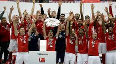 Pep Guardiola has signed off from the Bundesliga in style, as Bayern Munich lifted a fourth straight German league title after Saturday's 3-1 win over bottom-side Hannover.This was Guardiola's 20th trophy as a coach after 14 in four years with Barcelona .Robert Lewandowski and Mario Gotze scored the goals for Bayern before Artur Sobiech managed to pull one back, but the win was never in doubt for the hosts and their boss, departing for Manchester City.Lewandowski gave his side the lead  just