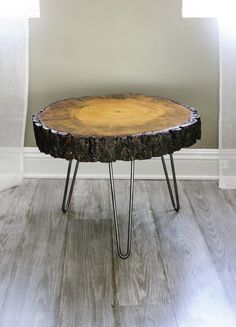 Tree Slice With Bark Coffee Table, or Side Table