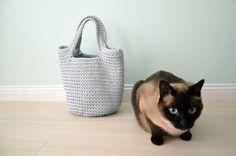 Crochet bag  knitted bag  light blue crochet bag by CatInTheBasket