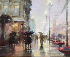 Картина Невский под дождем Санкт-Петербург, автор Бэгги Боем. Артклуб Gallerix