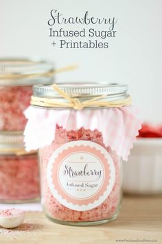 Strawberry Infused Sugar + Printables great for drinks and food recipes! Cute gift idea!