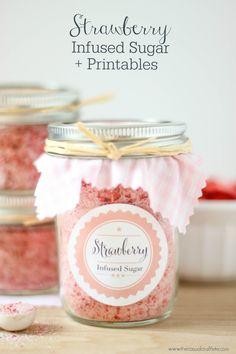 Strawberry Insfused Sugar + Printables