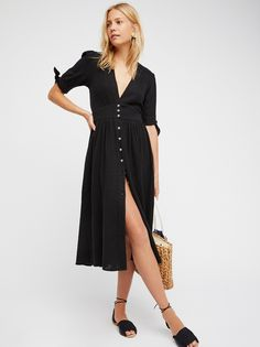 Love Of Life Midi Dress | Darling gauzy cotton Endless Summer midi dress.    * V-neckline   * Defined waist   * Front button closures   * Cute ties at the sleeves cuffs