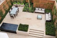 perimeter planting to define seating area, small water feature and simple material palette