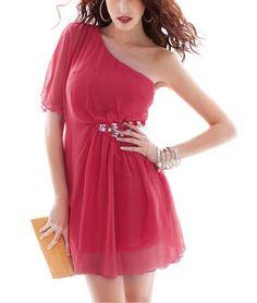 One Shoulder Peplum-Waist Red Chiffon Mini Dress