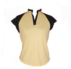 Lady Golfwear - Pastels with Black  Raglan Golf Shirt, $38.00 pictured here in lemon (http://www.ladygolfwear.com.au/pastels-with-black-raglan-golf-shirt/)