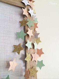 Tiny Stars 3m Garland (Peach, Mints & Glitter Gold)