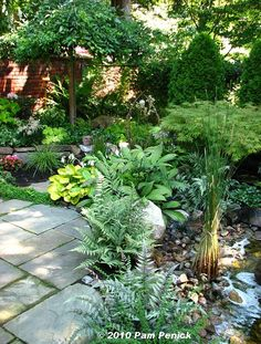 soften edges with hostas and other plants you can mow around