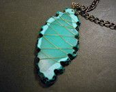 Turquoise Gold Wire Wrapped Stone Black Chain Necklace