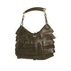 Yves Saint Laurent YSL dark brown leather Mombasa horn handle shoulder bag 604d4d9ba8038