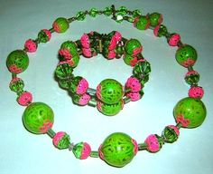 Vintage Vendome Necklace and Bracelet Hot Pink and Lime Green--Great