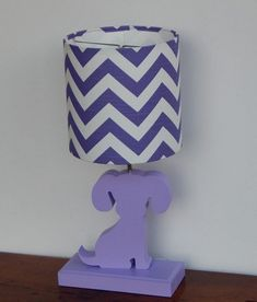 Small Purple and White Chevron Drum Lamp Shade Nursery | Etsy
