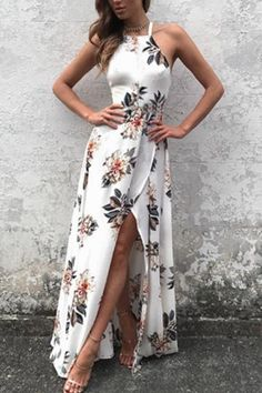 Sleeveless Side Split Back Lace-up Random Floral Print Maxi Dress
