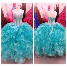 Aqua colored quinceañera dress beautiful...