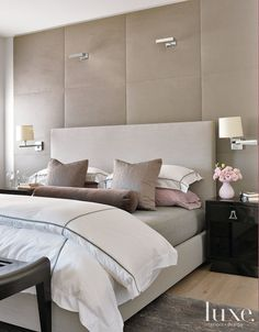 modern suede master bedroom like the suede wall board