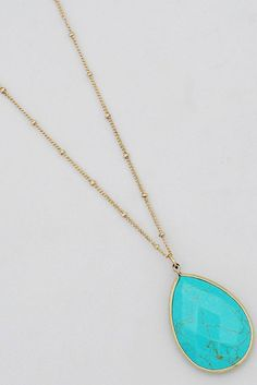 Natural stone, tear drop pendant necklaces. Chose from Black, White, Ivory, Midnight or Turquoise.  Approx 18″ + 3″ extender.