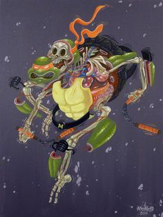 I already talked about the street art creations of Nychos back in 2012, who reveals the anatomy of his characters into explosive and colorful compositions