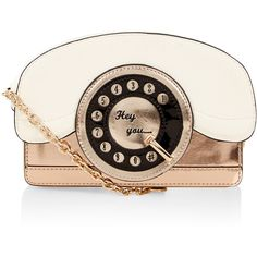 Accessorize Ring Ring Telephone Across Body Bag ($59) ❤ liked on Polyvore featuring bags, handbags, shoulder bags, retro purse, chain handbags, white cross body purse, white handbags and embroidered purse