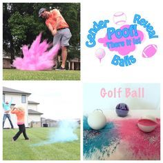 3 Golf Ball Gender Reveal Balls Pack (Custom Color Combinations and Styles) Best Gender Reveal Balls!! They have Baseballs, Softballs, Footballs, Soccer Balls, Golf Balls, and Shooting Targets! Great for gender reveal parties. Pink for Girl and Blue for Boy and add some spice with Glitter! These balls produce the largest reveal cloud on the market!