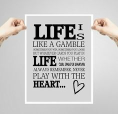 Printable quote art print, life is like a gamble, gift for gambler, wall decor, inspirational quote, game room decor