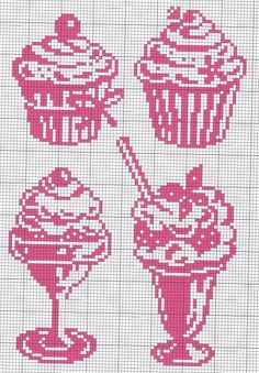 Cupcake cross x stitch pattern chart stylized