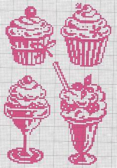 Cupcake, milkshake, sorvete, ponto cruz