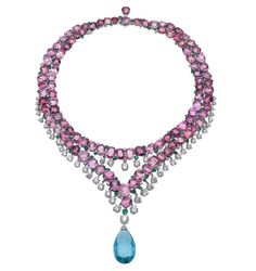 33.75 Carat Aquamarine, Emerald, Spinel, and Diamond Necklace by BVLGARI