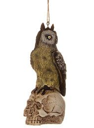 Perched Owl on Skull Ornament