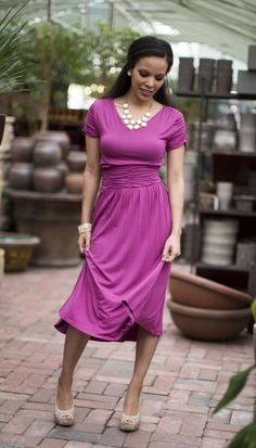 Lilian Modest Dress in Boysenberry  I would wear this to the kingdom hall