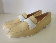 Tods Mokassin Schuhe Gelb Weiß Leder Tod's Slipper Yellow Leather Loafer 39 New