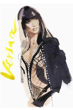 Naomi Campbell pour Versace Haute Couture Automne-Hiver 2013-2014 par David Downton
