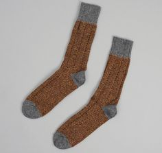 J.S. HOMESTEAD: Country Socks, Brown Tweed