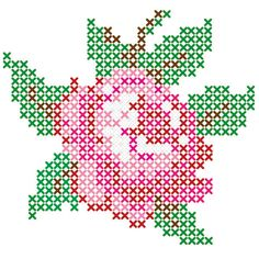 Rose flower pearler bead pattern, pretty sure it can be adapted to stitch.