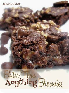 Better Than Anything Brownies...German chocolate cake mix, evap milk, caramels, butter, milk chocolate chips, Heath toffee bits...