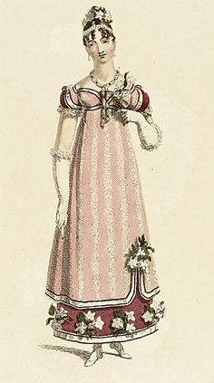 Ackerman's Repository, Evening Dress, December 1815.  I love this so much- the uneven hem of the overdress, the crossed trim on the bust, the flowers.  WANT!