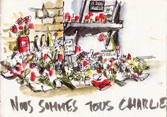 berlin.urbansketchers Detlef Surrey - Nous sommes tous Charlie Hebdo