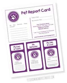 Pet Report Card templates for dog groomers. Dog grooming pet report card. Printable and an editable template. Available free at: http://www.petbusinessdashboard.com/free-pet-grooming-report-card.html