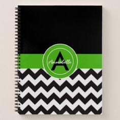 Black Green Chevron Notebook - monogram gifts unique design style monogrammed diy cyo customize