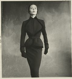 Bettina (Simone Micheline Bodin) is wearing a suit by Jacques Fath, Voque 1950. Photograph by Irving Penn