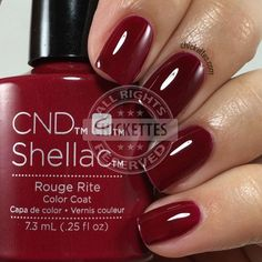 Currently on my nails: CND Shellac Rouge Rite Cdn Shellac Colors, Gel Nail Polish Colors, Gel Polish, Manicure Y Pedicure, Burgundy Nails, Shellac Nails, Creative Nails, Nails Inspiration, Beauty Nails