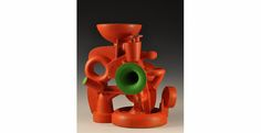 "Doug Herren, Red Vase Cluster (alternate view), Stoneware with bronze glaze, enamel paint, 25"" x 23"" x 16"", 2012"