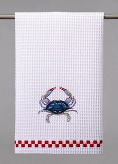 Blue Crab Embroidered Towels - Set of 4. Fun idea for summer crab feast!