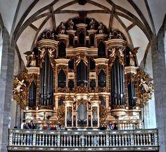Ladegast - Orgel hinter barockem Prospekt um 1700, im Dom zu Merseburg, eine der grössten romantischen Orgeln Dtschl. 1855-1866; Foto von Paul Marx