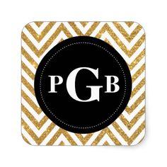 Gold Chevron Black Circle Monogram Sticker