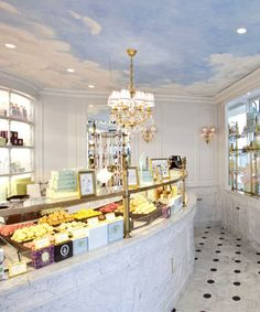 Ladurée | Ladurée Shops Beautiful and yummy! Best macarons, best hot chocolate. One of my best memories of Paris was the meal we had at the Champs Elysee Ladurée followed by rose petal ice cream.